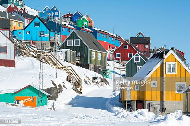 Colorful houses in a small village, Western Greenland