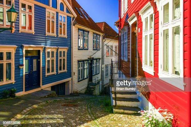colorful houses in bergen, norway - bergen norway stock pictures, royalty-free photos & images