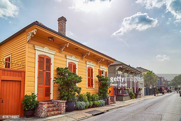 colorful houses in french quarter - louisiana stock pictures, royalty-free photos & images