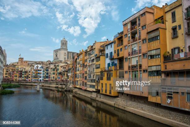 colorful houses in girona, catalonia, spain - gerona province stock photos and pictures