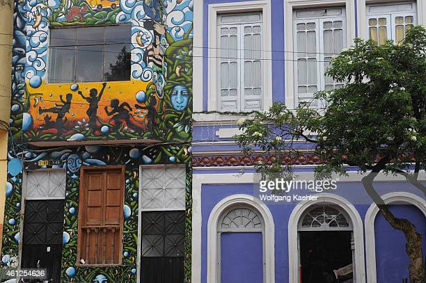 Colorful houses in La Candelaria the old town of Bogota Colombia