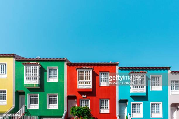 colorful houses in la orotava, tenerife, spain - facade stock pictures, royalty-free photos & images