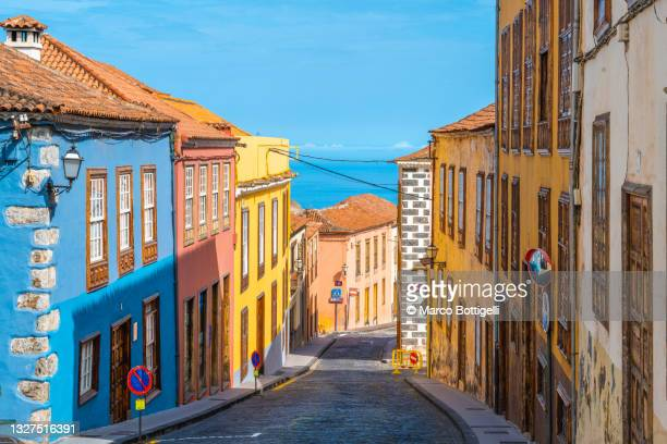 colorful houses in la orotava, tenerife, spain - mediterranean culture stock pictures, royalty-free photos & images
