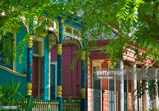 colorful houses in new orleans - new orleans french quarter stock photos and pictures