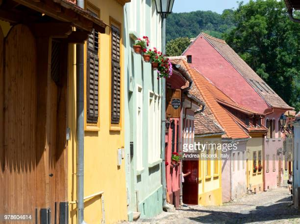 colorful houses in sighisoara old town, transylvania, romania - siebenbürgen stock-fotos und bilder