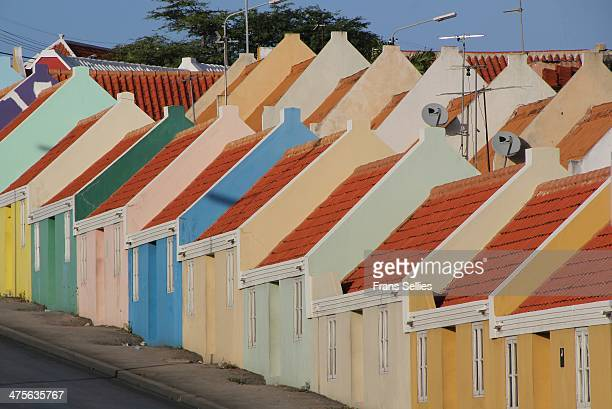 Colorful houses in Willemstad, Curacao. In 1997 the Historic Area of Willemstad was inscribed on the Unesco World Heritage list.