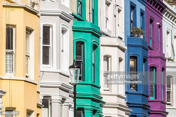 Colorful houses near to Portobello Road, London.