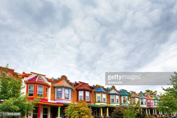 colorful houses of baltimore - baltimore maryland stock pictures, royalty-free photos & images