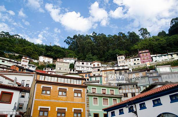 colorful houses of cudillero - flying buttress stock photos and pictures