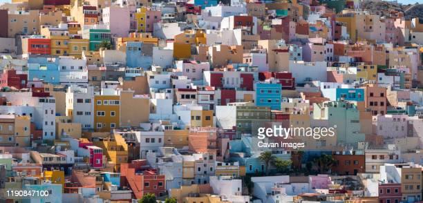 colorful houses of san juan neighborhood in uptown in las palmas - europa meridionale foto e immagini stock