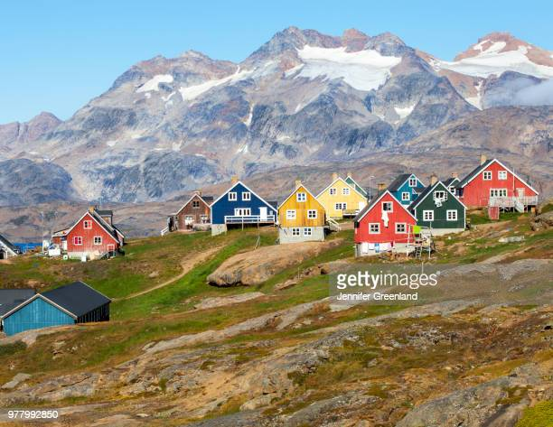 colorful houses of tasiilaq, tasiilaq, sermersooq, greenland, denmark - greenland stock pictures, royalty-free photos & images