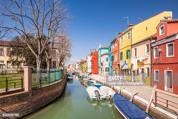 Colorful houses on Burano in Venice, Italy.