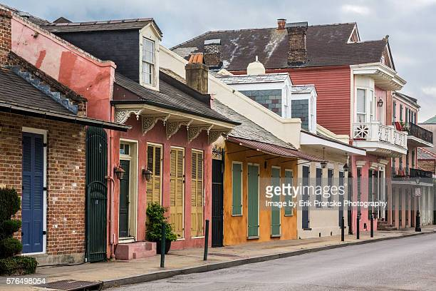 colorful houses on st. phillip - new orleans french quarter stock photos and pictures