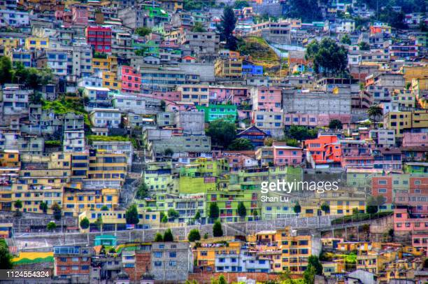 colorful houses on the hill in quito, ecuador - キト ストックフォトと画像