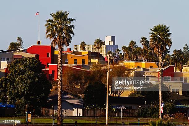 colorful houses palms santa cruzcaliforniausa