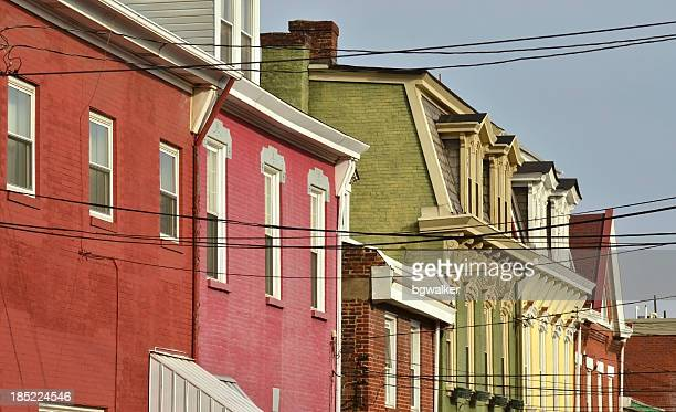 colorful houses - pittsburgh stock pictures, royalty-free photos & images