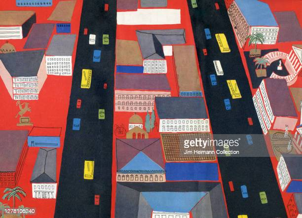 Colorful illustration depicts a modern city from a bird's eye view showing red, yellow, and blue cars on streets lined with buildings, circa 1962.