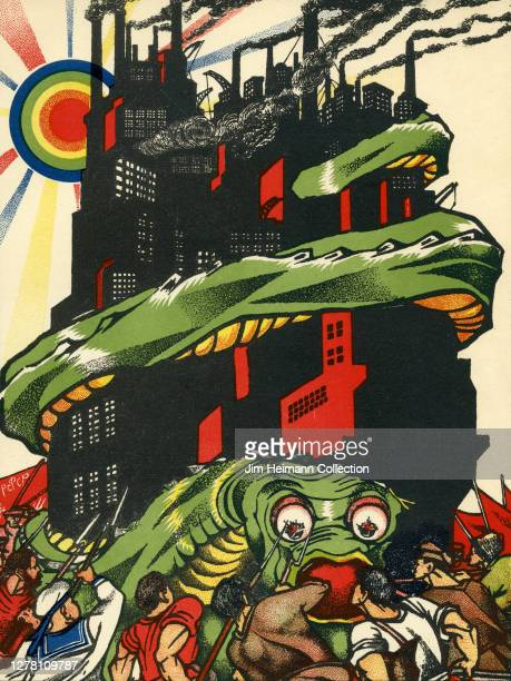 Colorful illustration depicts a surreal scene of a giant snake wrapped around a building with a crowd of men on the street below attacking it with...