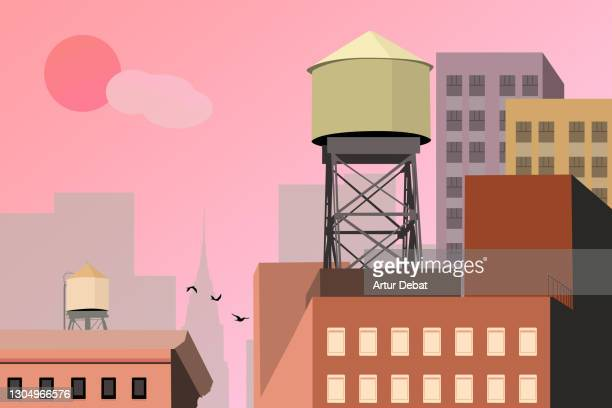 colorful illustration of the rooftops of new york city during idyllic sunset. - manhattan new york city stock pictures, royalty-free photos & images