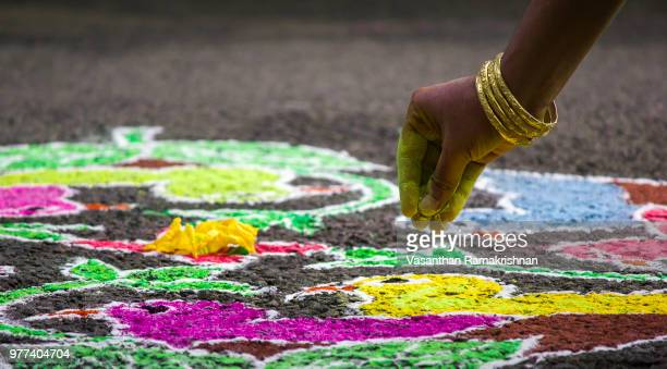Colorful Indian Kolam drawing, Tamil Nadu, India
