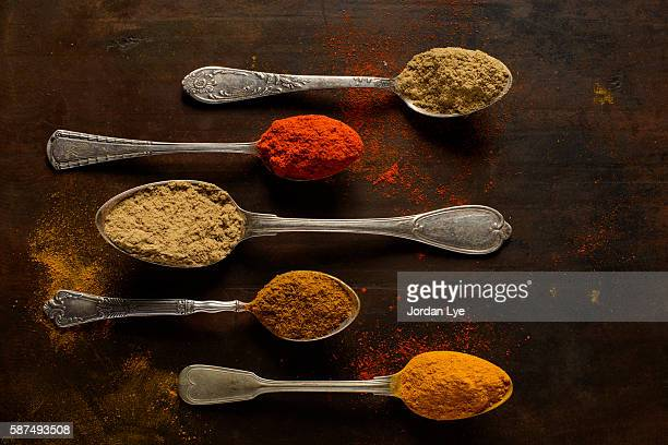 Colorful Indian Spices on some vintage Spoons