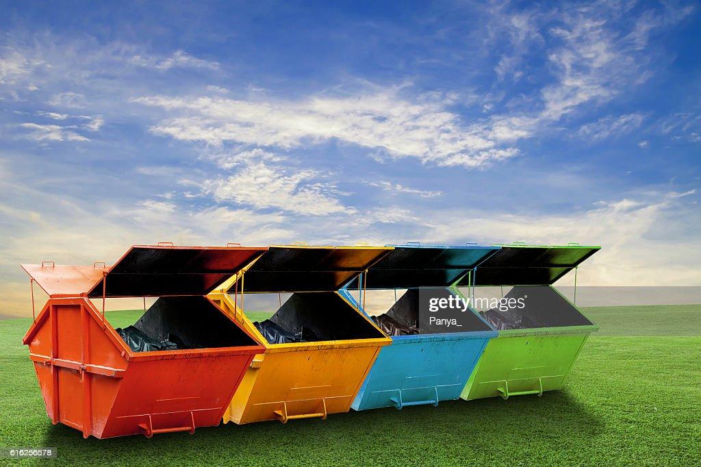 Colorful Industrial Waste Bin (dumpster) for municipal waste : Foto de stock