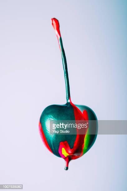 colorful ink painted fruits - kunst und handwerksmaterial stock-fotos und bilder