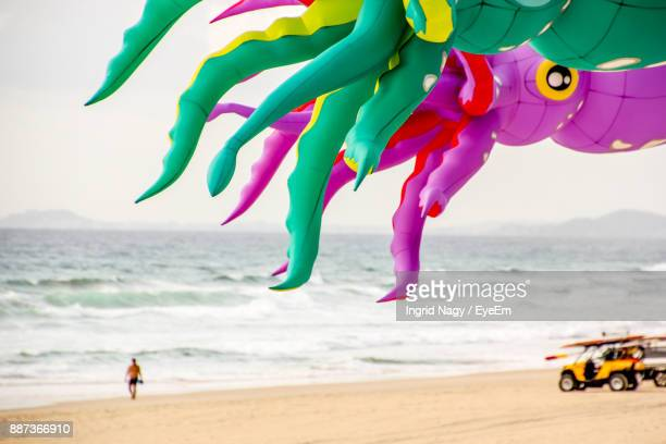Colorful Kites Flying Over Beach Against Sky