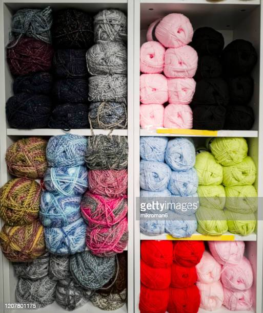colorful knitting wool - needlecraft stock pictures, royalty-free photos & images