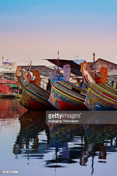 colorful kolek boats. - sabah state stock pictures, royalty-free photos & images