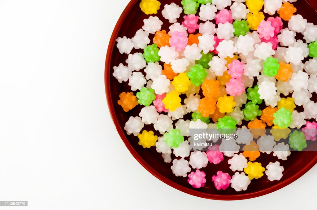 colorful konpeitou (japanese traditional sugar candy) on tray : Stock Photo