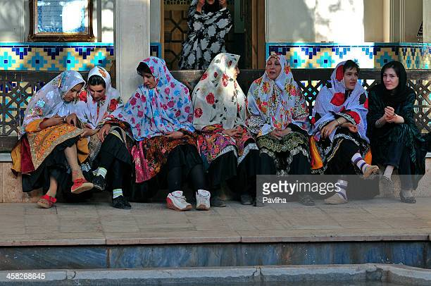 Colorful Ladies of Abyaneh in Mosque Iran