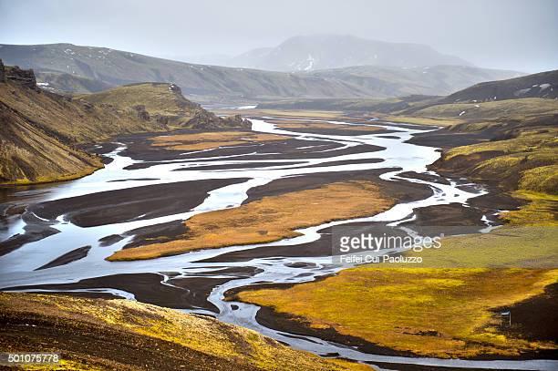 Colorful Landmannalaugar landscape in Highland plateau Central Iceland