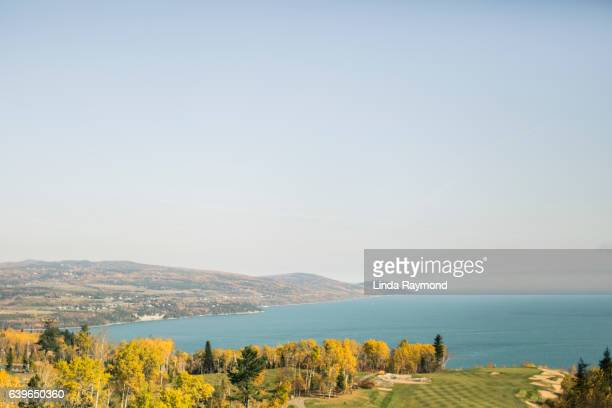 colorful landscape of st. lawrence river in charlevoix - river st lawrence stock pictures, royalty-free photos & images