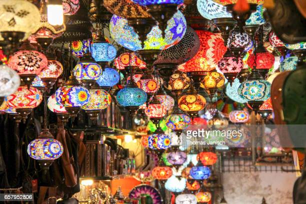 Colorful lanterns for sale in the bazaar, Granada, Andalusia, Spain