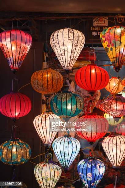 colorful latterns in ancient hoi an town, quang nam, vietnam. - chinese lantern lily stock pictures, royalty-free photos & images