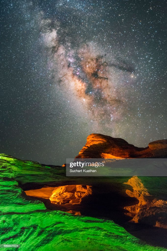 Colorful Light Painting into The Milky Way : Stock Photo