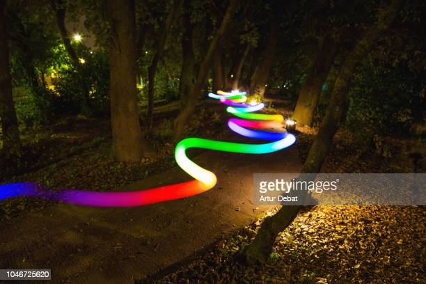 colorful light trail following the way between trees at night. - seguir atividade móvel - fotografias e filmes do acervo