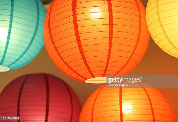 colorful lighting paperlamps - craft product stock pictures, royalty-free photos & images