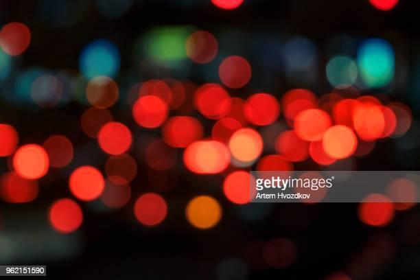 colorful lights from cars in defocus, night, outdoor - las vegas fotografías e imágenes de stock