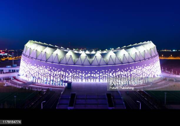 CHANGCHUN CHINA OCTOBER 30 2019 Colorful lights light up the Olympic park in Changchun Northeast China's Jilin Province PHOTOGRAPH BY Costfoto /...