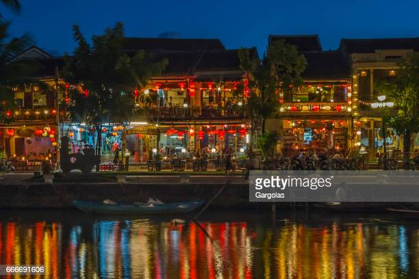 Colorful lights on river in Hoi An, Vietnam