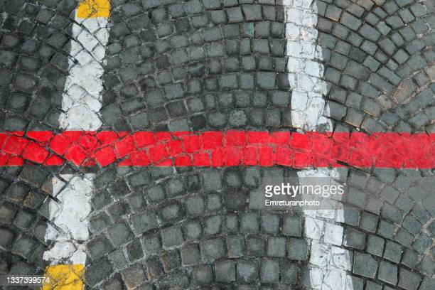 colorful lines painted on the ground. - emreturanphoto stock pictures, royalty-free photos & images