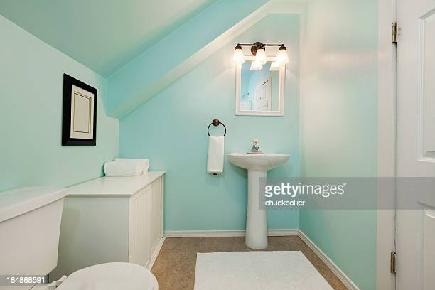 colorful little bathroom - bathroom stock photos and pictures