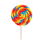 Colorful lollipop swirl on stick isolated on white background. Striped spiral multicolored candy