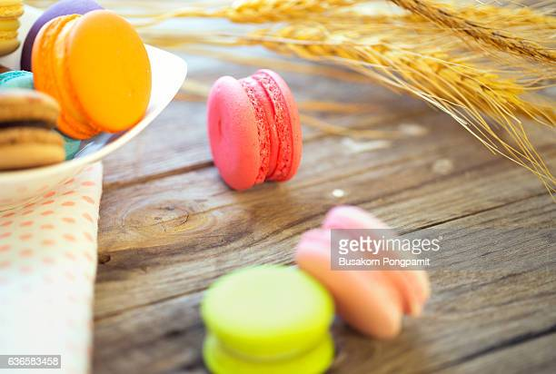 Colorful macarons on vintage pastel background