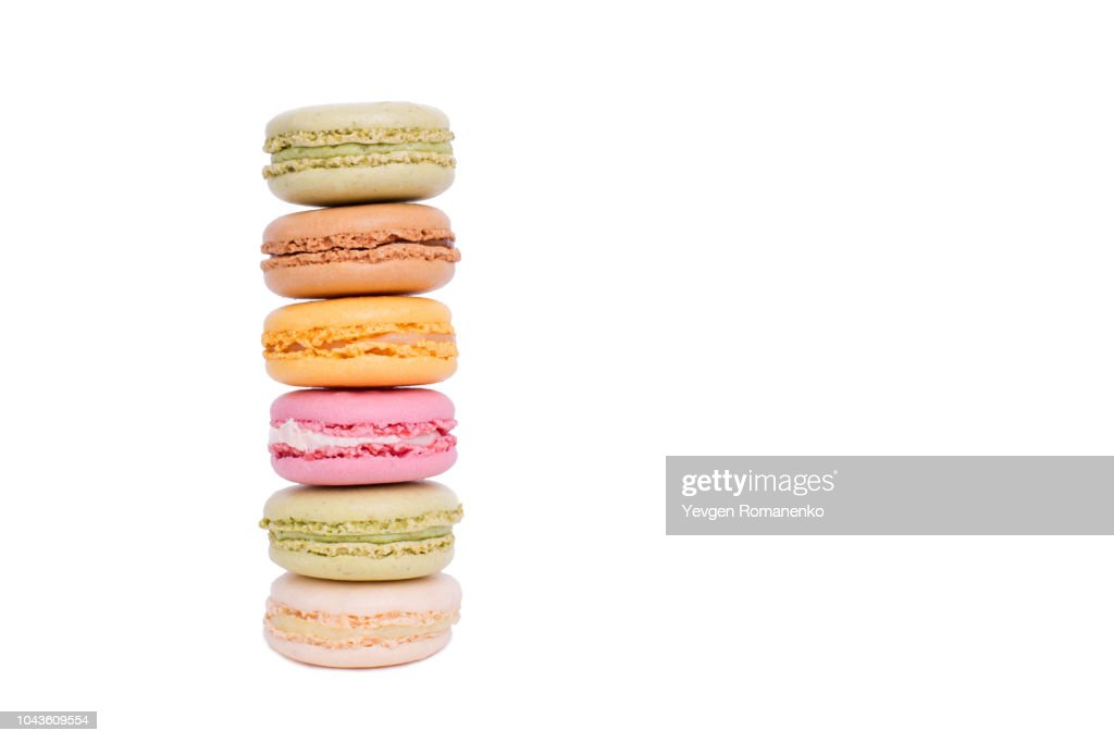 Colorful Macaroon cookies isolated on white background : Stock Photo