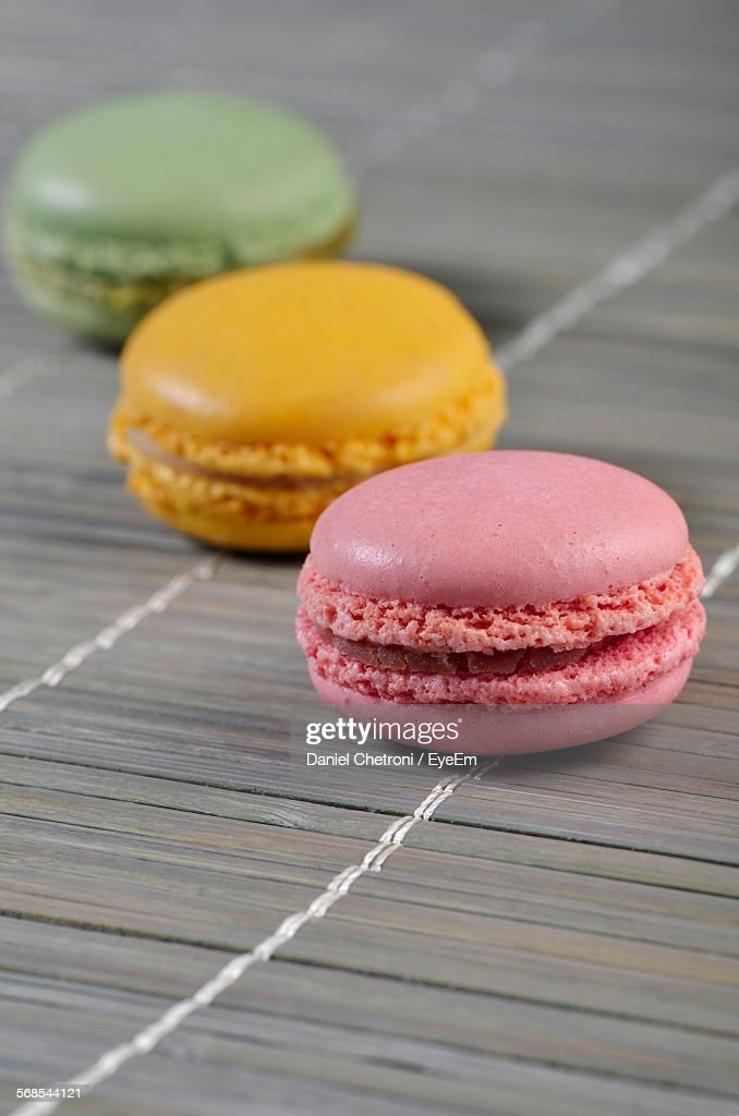 Colorful Macaroons On Mat : Stock Photo