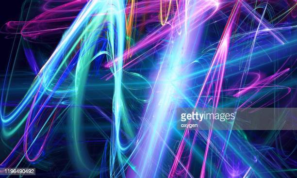 colorful magical neon blue violet wave swirl circle ribbon black background energy streams - neon colored stock pictures, royalty-free photos & images