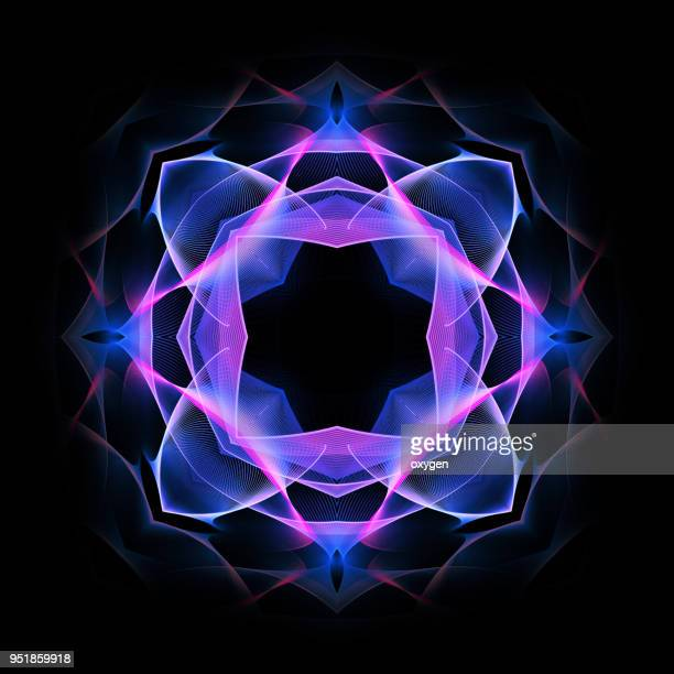 colorful mandala on black background - symbol stock pictures, royalty-free photos & images